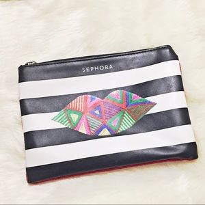 🆓w/$40.Purchase/Sephora Black,White.Red Lip Pouch